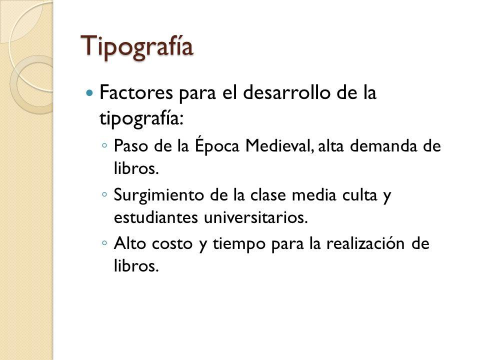 Tipografía Factores para el desarrollo de la tipografía: