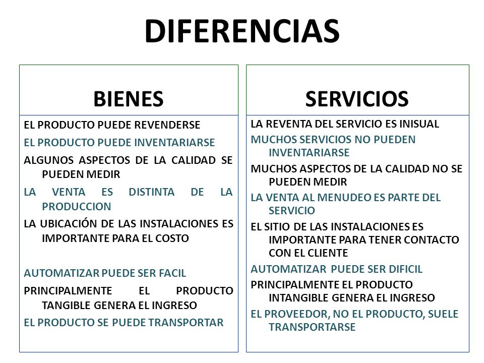 DIFERENCIAS BIENES SERVICIOS