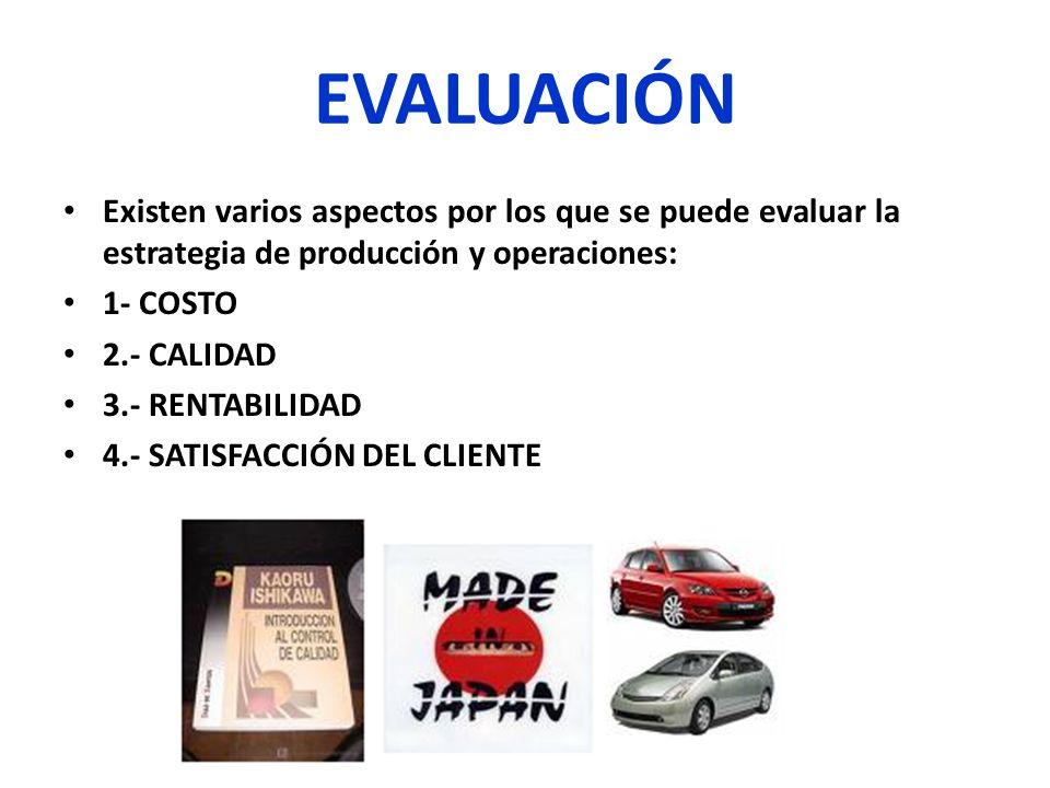 EVALUACIÓN Existen varios aspectos por los que se puede evaluar la estrategia de producción y operaciones:
