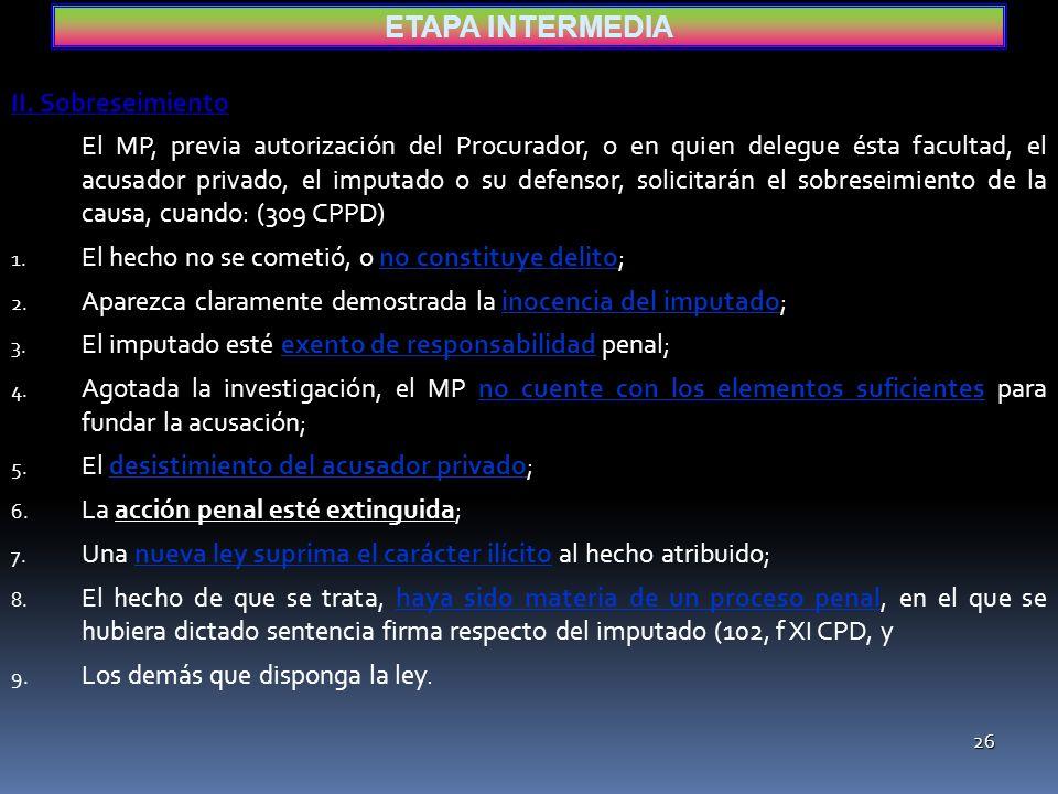ETAPA INTERMEDIA II. Sobreseimiento
