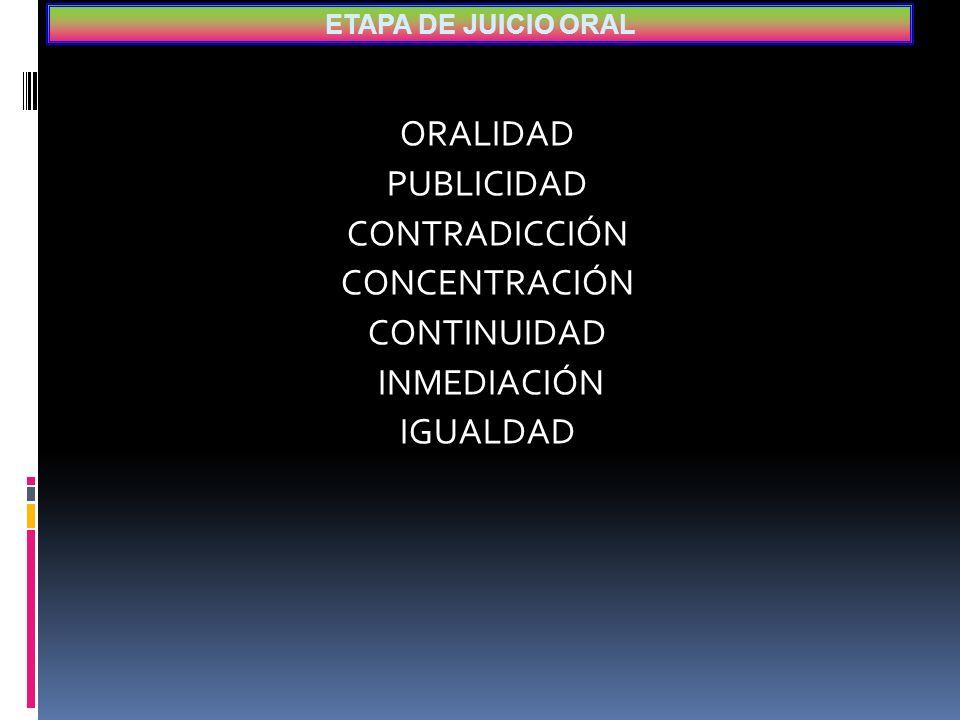 ETAPA DE JUICIO ORAL ORALIDAD PUBLICIDAD CONTRADICCIÓN CONCENTRACIÓN CONTINUIDAD INMEDIACIÓN IGUALDAD