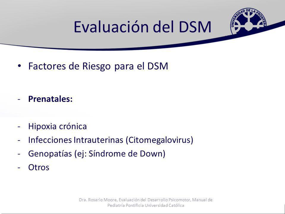 Evaluación del DSM Factores de Riesgo para el DSM Prenatales: