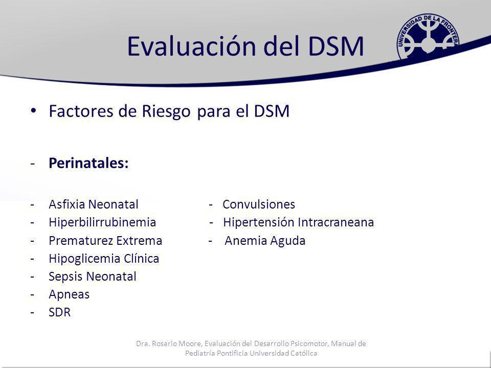 Evaluación del DSM Factores de Riesgo para el DSM Perinatales: