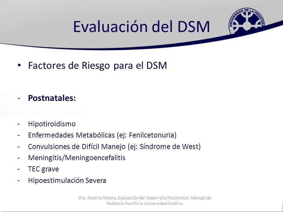 Evaluación del DSM Factores de Riesgo para el DSM Postnatales: