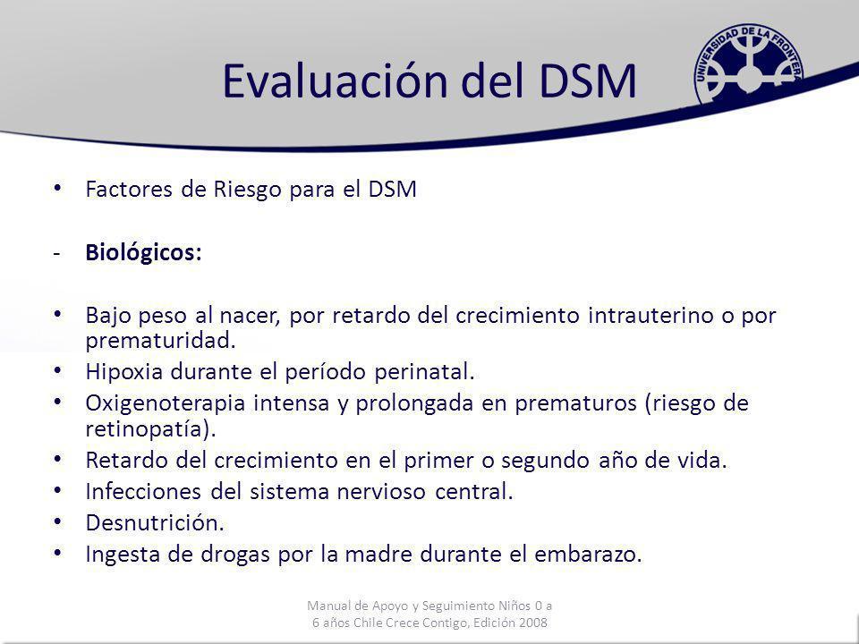 Evaluación del DSM Factores de Riesgo para el DSM Biológicos: