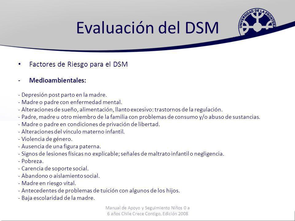 Evaluación del DSM Factores de Riesgo para el DSM Medioambientales: