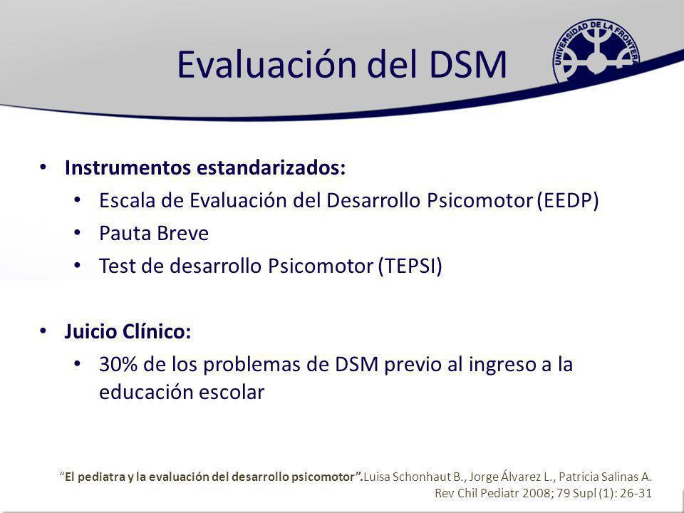 Evaluación del DSM Instrumentos estandarizados: