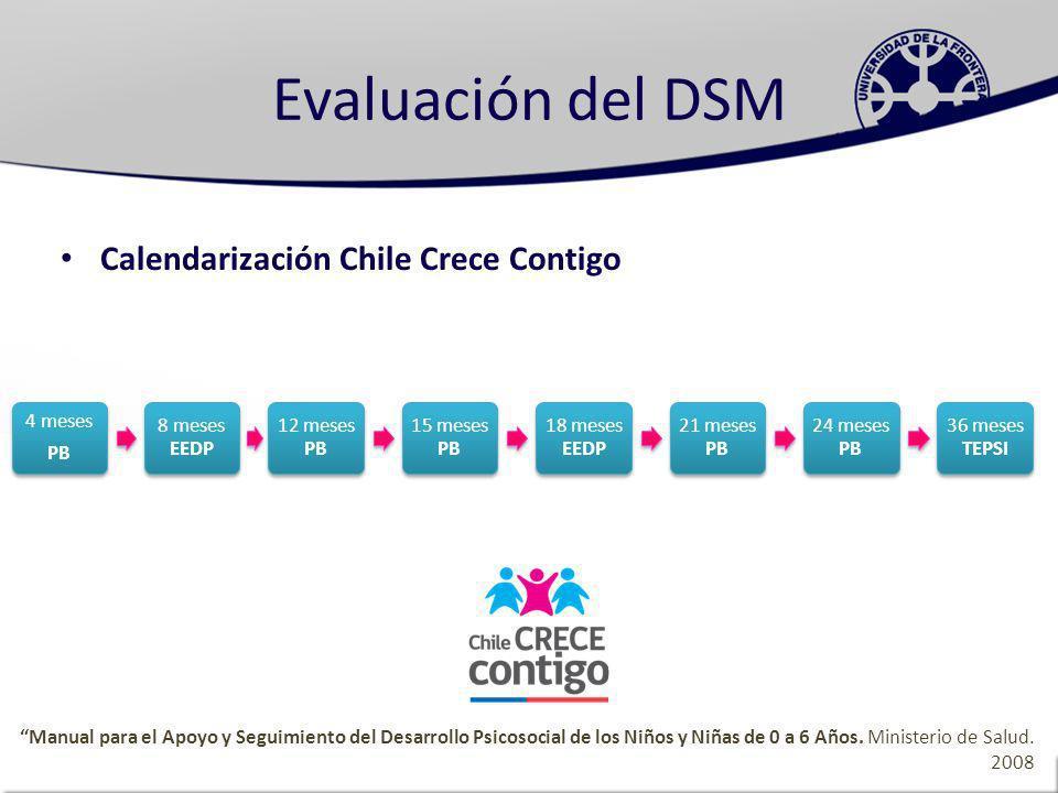 Evaluación del DSM Calendarización Chile Crece Contigo 4 meses PB
