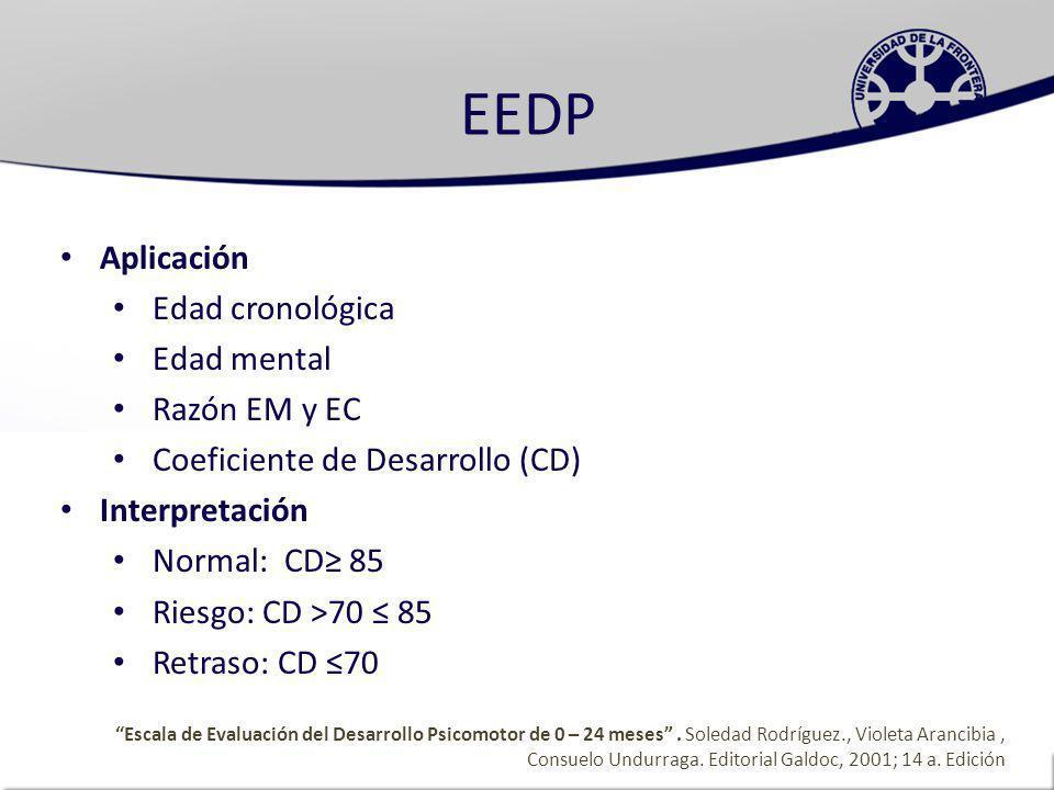EEDP Aplicación Edad cronológica Edad mental Razón EM y EC