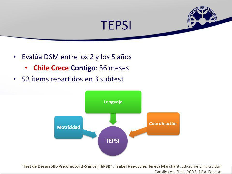 TEPSI Evalúa DSM entre los 2 y los 5 años
