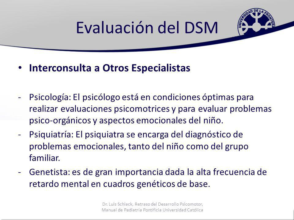 Evaluación del DSM Interconsulta a Otros Especialistas
