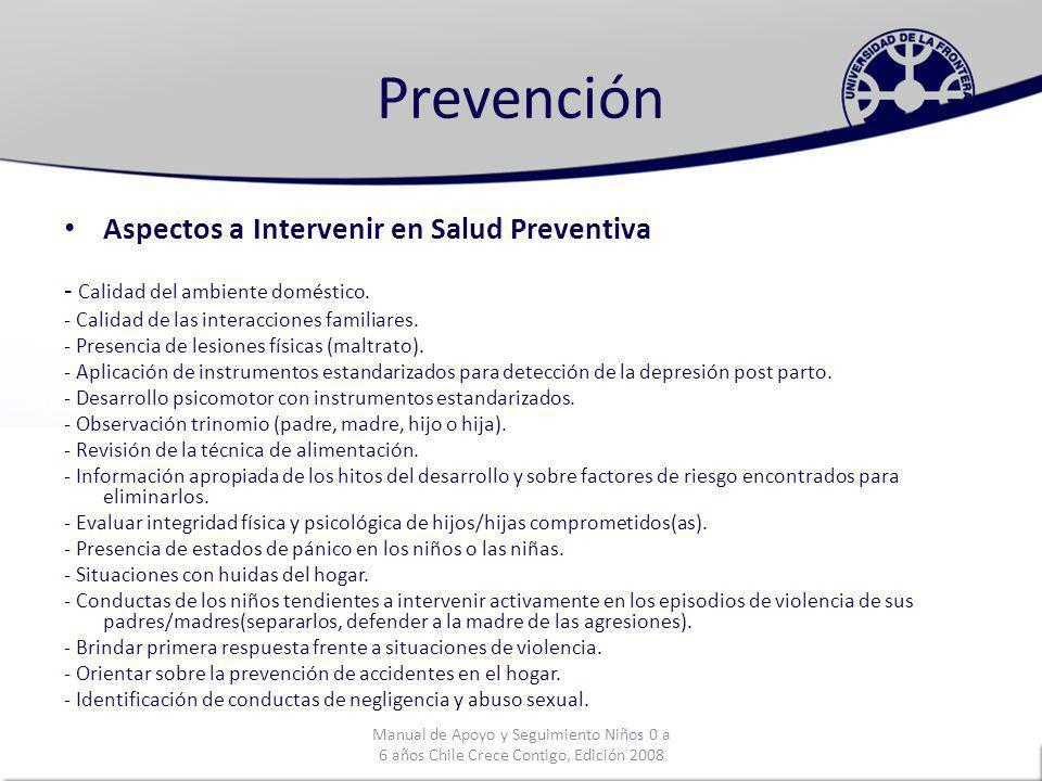Prevención Aspectos a Intervenir en Salud Preventiva