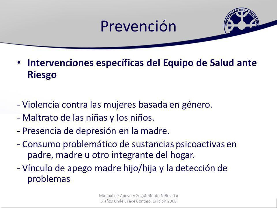 Prevención Intervenciones específicas del Equipo de Salud ante Riesgo