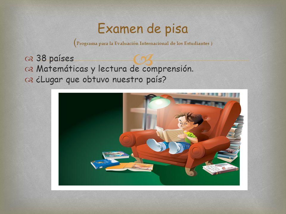 Examen de pisa (Programa para la Evaluación Internacional de los Estudiantes )
