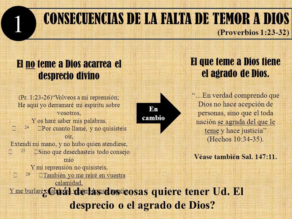 1 CONSECUENCIAS DE LA FALTA DE TEMOR A DIOS