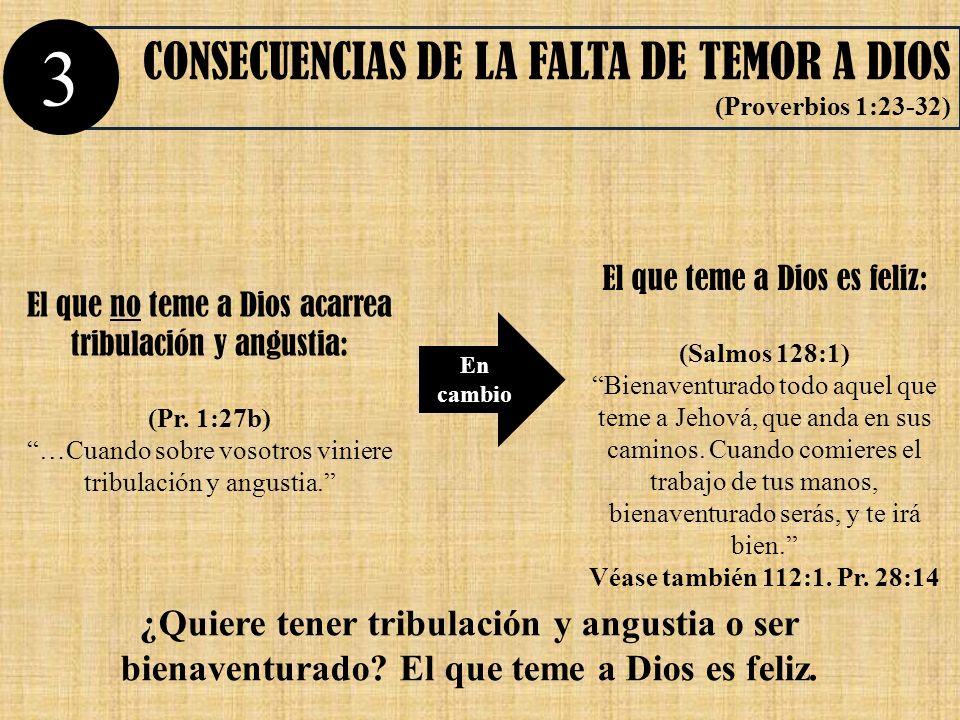 3 CONSECUENCIAS DE LA FALTA DE TEMOR A DIOS