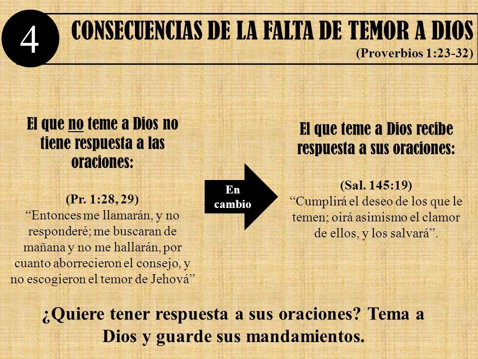 4 CONSECUENCIAS DE LA FALTA DE TEMOR A DIOS