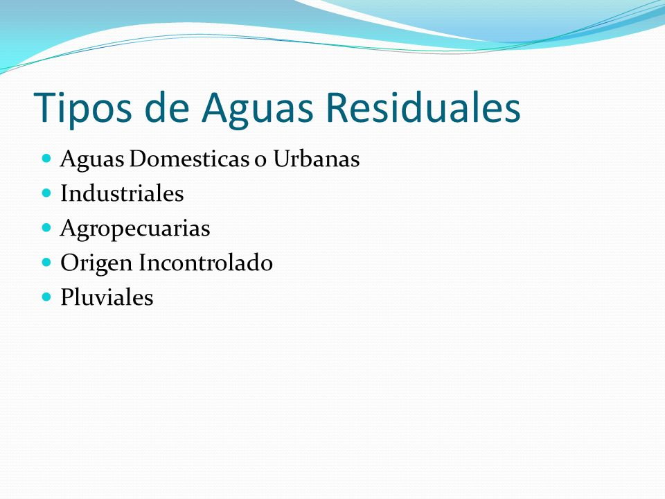 Tipos de Aguas Residuales