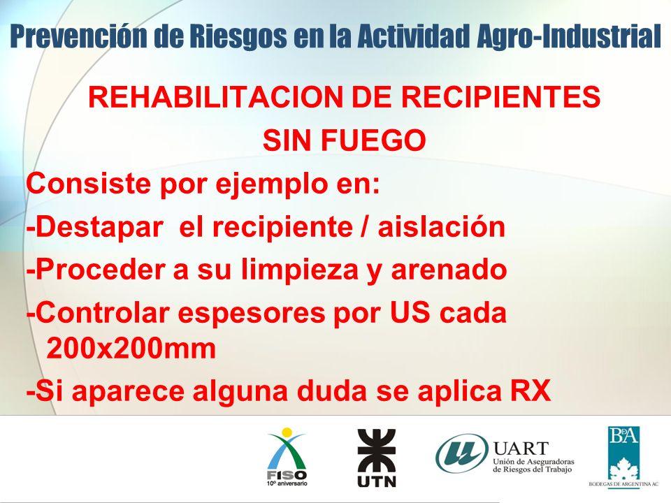 REHABILITACION DE RECIPIENTES