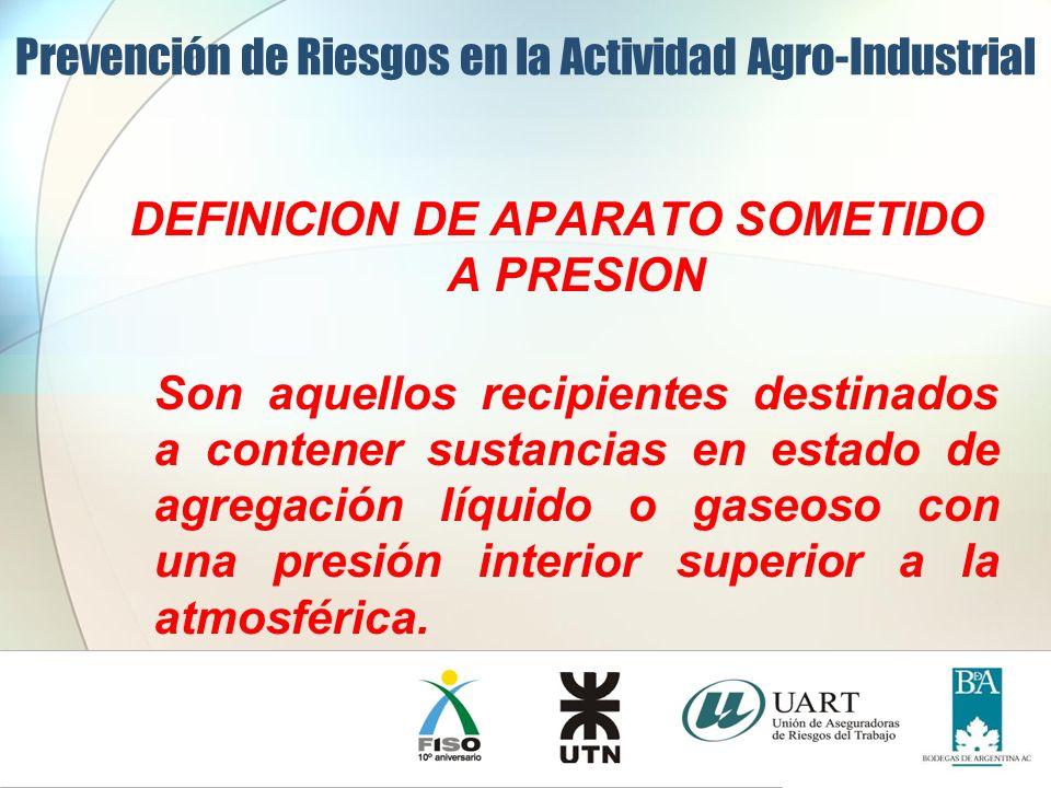DEFINICION DE APARATO SOMETIDO A PRESION