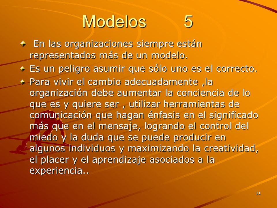 Modelos 5 En las organizaciones siempre están representados más de un modelo. Es un peligro asumir que sólo uno es el correcto.