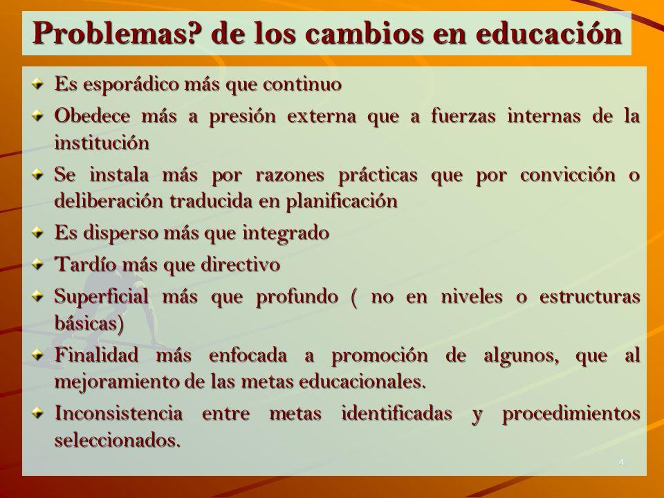 Problemas de los cambios en educación