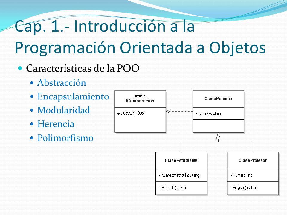 Cap. 1.- Introducción a la Programación Orientada a Objetos
