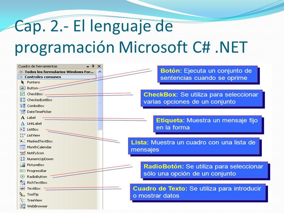Cap. 2.- El lenguaje de programación Microsoft C# .NET
