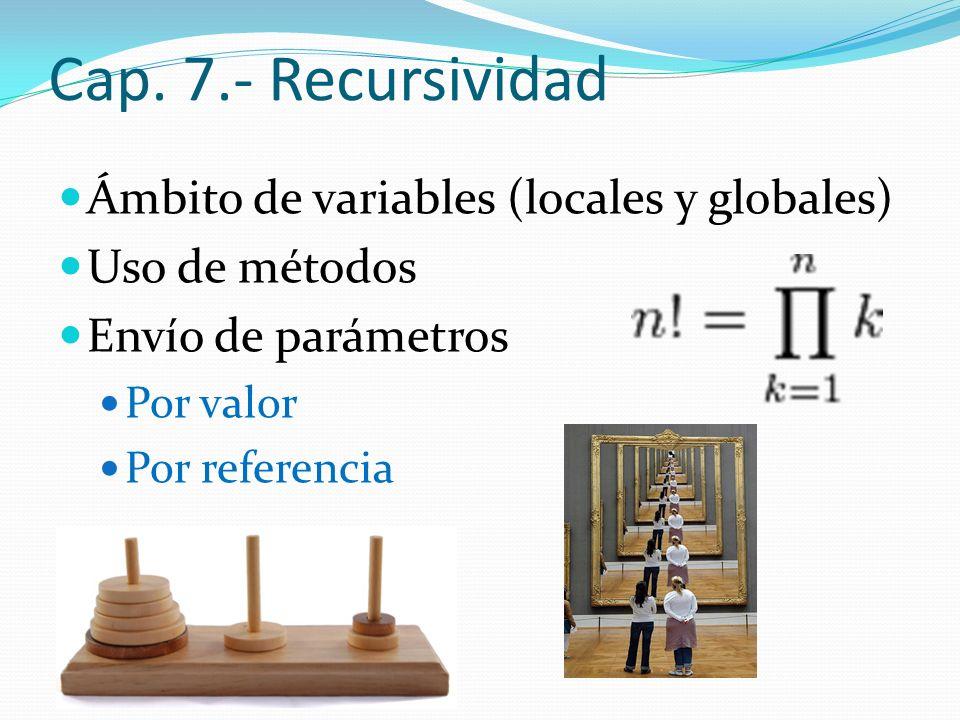 Cap. 7.- Recursividad Ámbito de variables (locales y globales)