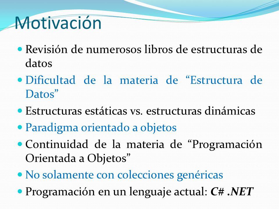 Motivación Revisión de numerosos libros de estructuras de datos