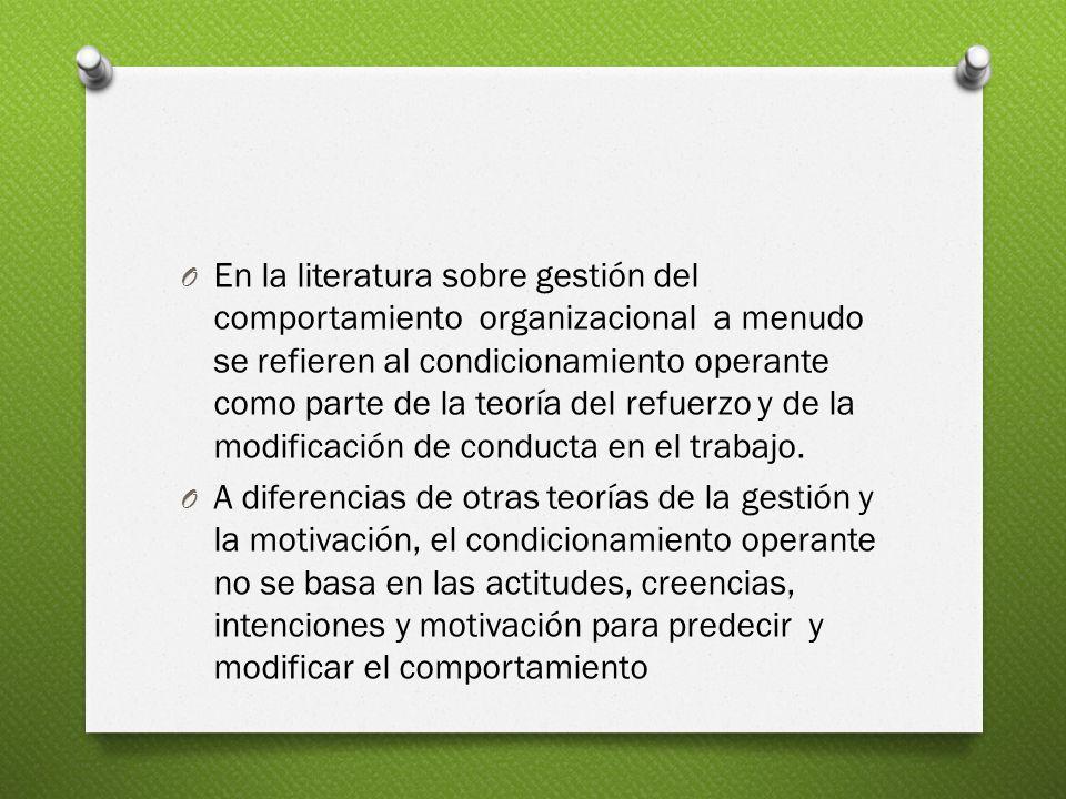 En la literatura sobre gestión del comportamiento organizacional a menudo se refieren al condicionamiento operante como parte de la teoría del refuerzo y de la modificación de conducta en el trabajo.