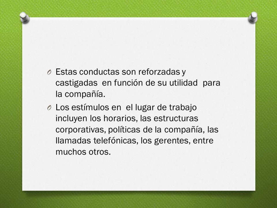 Estas conductas son reforzadas y castigadas en función de su utilidad para la compañía.