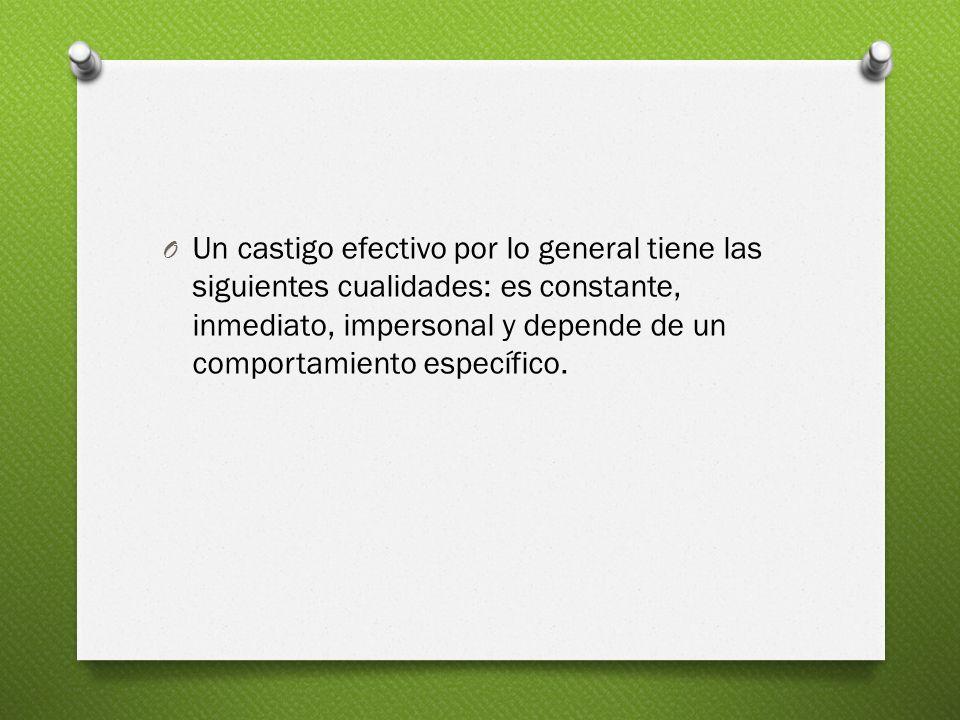 Un castigo efectivo por lo general tiene las siguientes cualidades: es constante, inmediato, impersonal y depende de un comportamiento específico.
