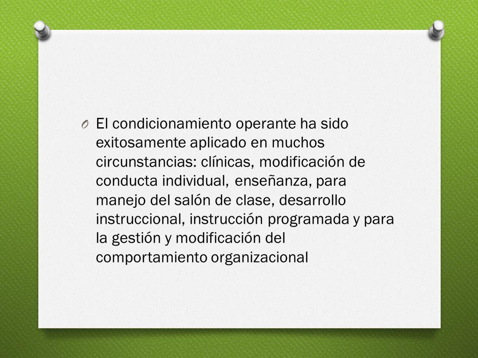 El condicionamiento operante ha sido exitosamente aplicado en muchos circunstancias: clínicas, modificación de conducta individual, enseñanza, para manejo del salón de clase, desarrollo instruccional, instrucción programada y para la gestión y modificación del comportamiento organizacional