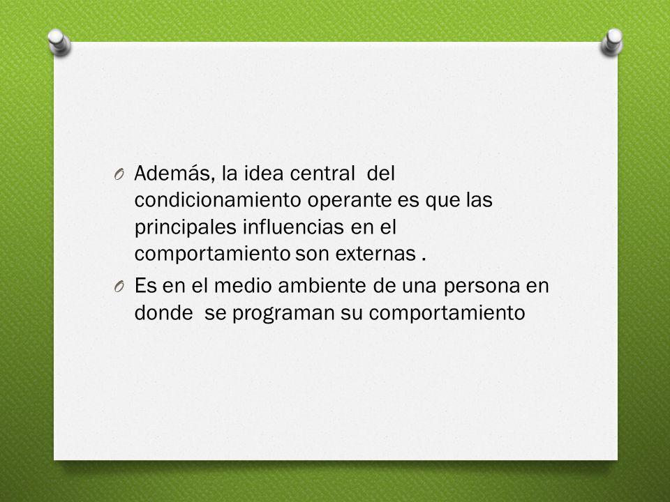 Además, la idea central del condicionamiento operante es que las principales influencias en el comportamiento son externas .