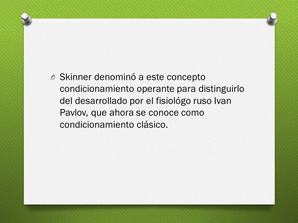 Skinner denominó a este concepto condicionamiento operante para distinguirlo del desarrollado por el fisiológo ruso Ivan Pavlov, que ahora se conoce como condicionamiento clásico.