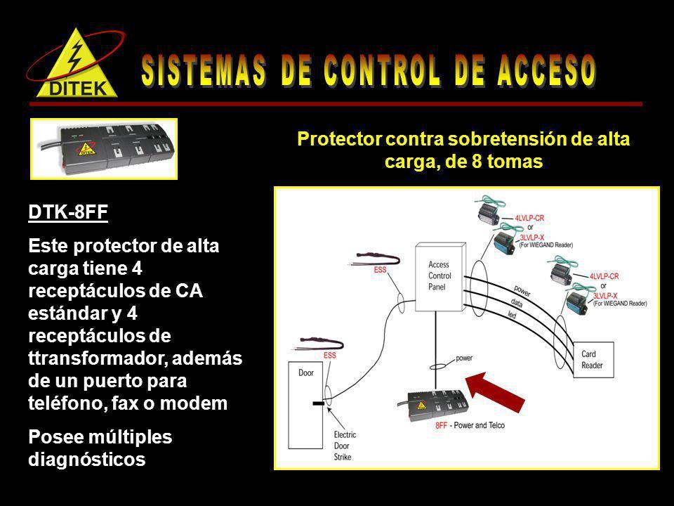 Protector contra sobretensión de alta carga, de 8 tomas