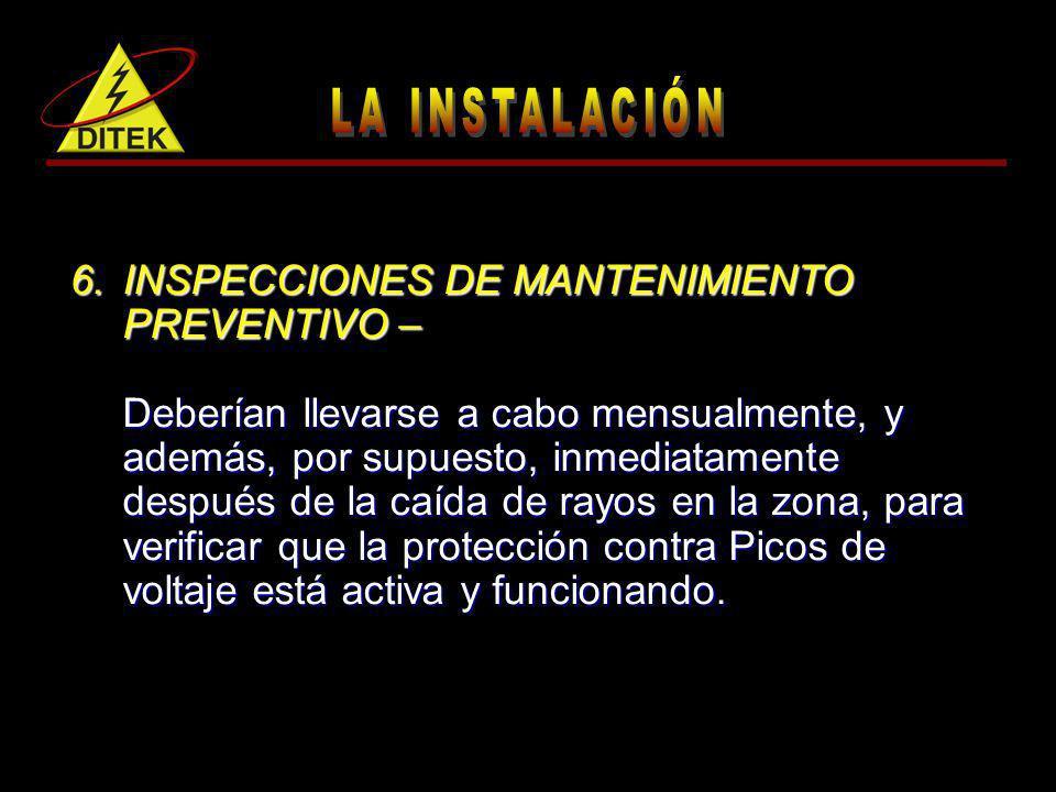 INSPECCIONES DE MANTENIMIENTO PREVENTIVO –