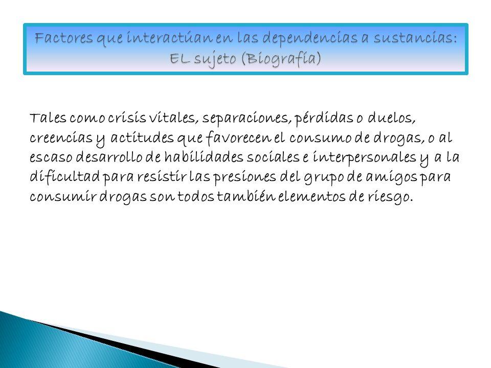 Factores que interactúan en las dependencias a sustancias: EL sujeto (Biografía)