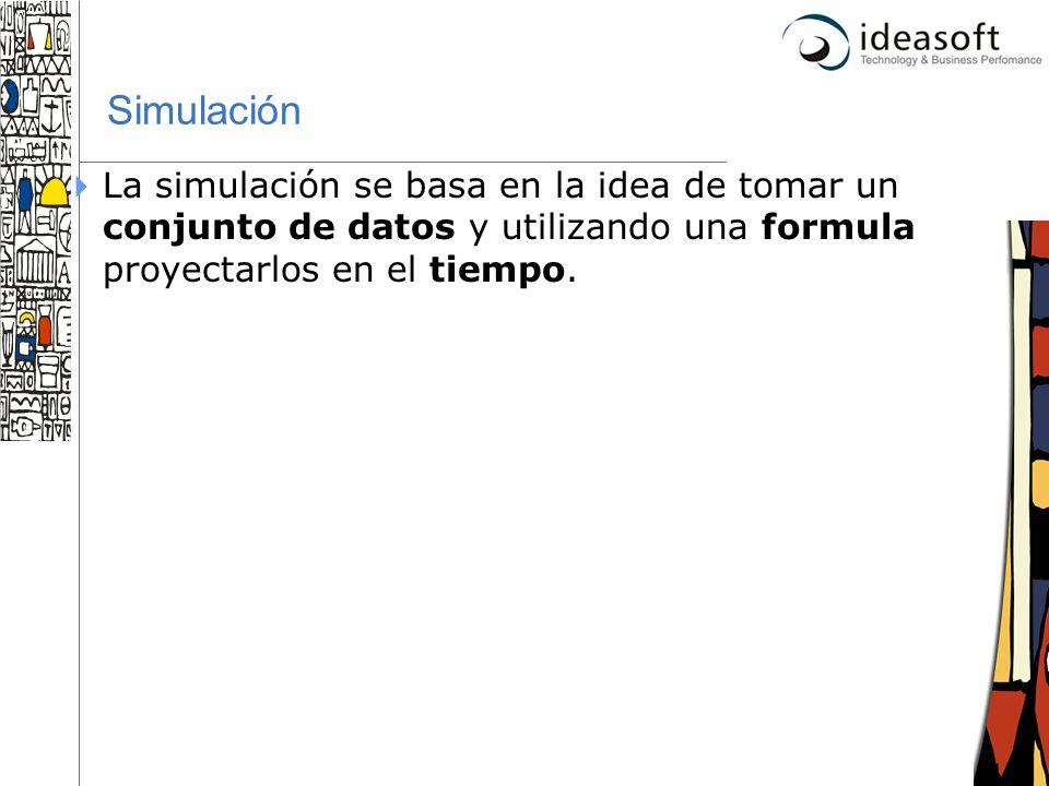 Simulación La simulación se basa en la idea de tomar un conjunto de datos y utilizando una formula proyectarlos en el tiempo.