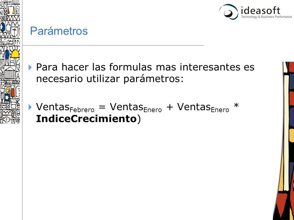 Parámetros Para hacer las formulas mas interesantes es necesario utilizar parámetros: VentasFebrero = VentasEnero + VentasEnero * IndiceCrecimiento)