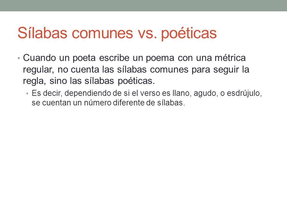 Sílabas comunes vs. poéticas
