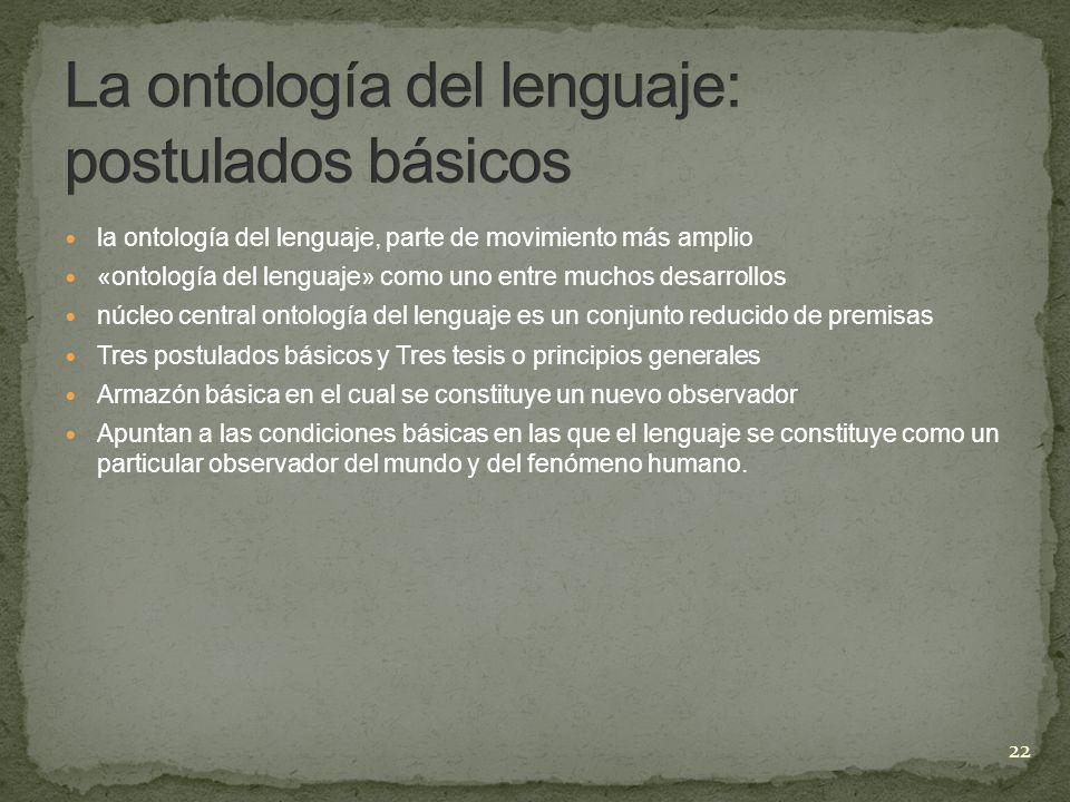 La ontología del lenguaje: postulados básicos