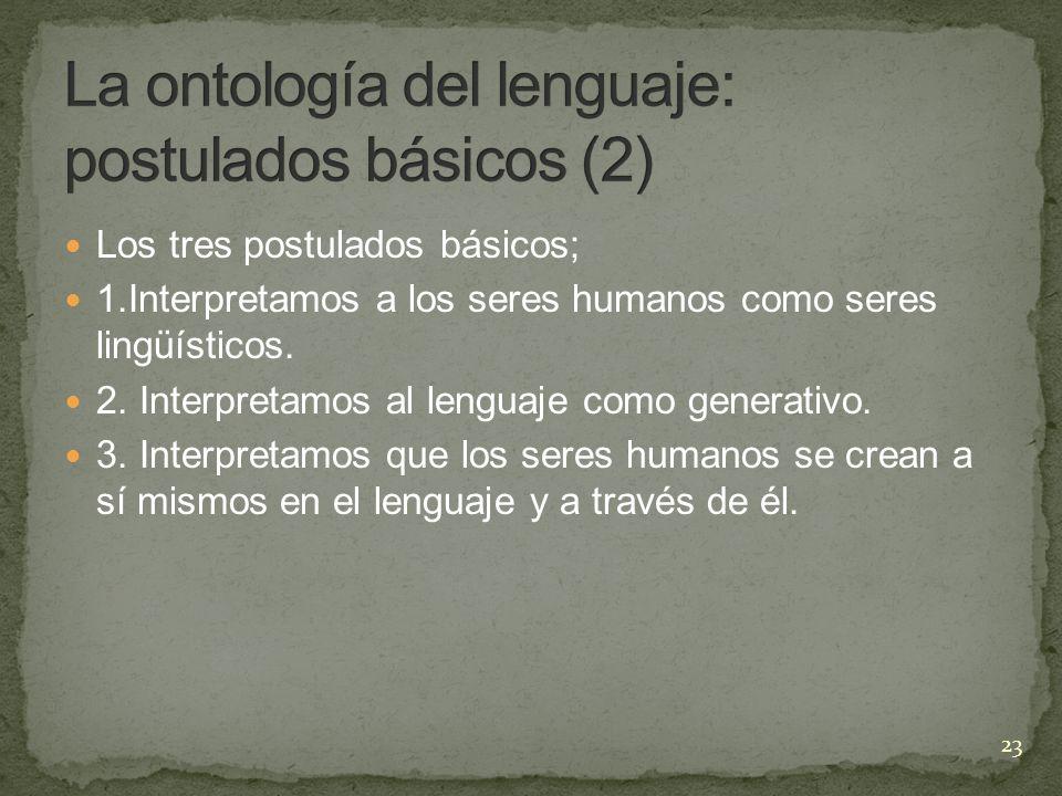 La ontología del lenguaje: postulados básicos (2)