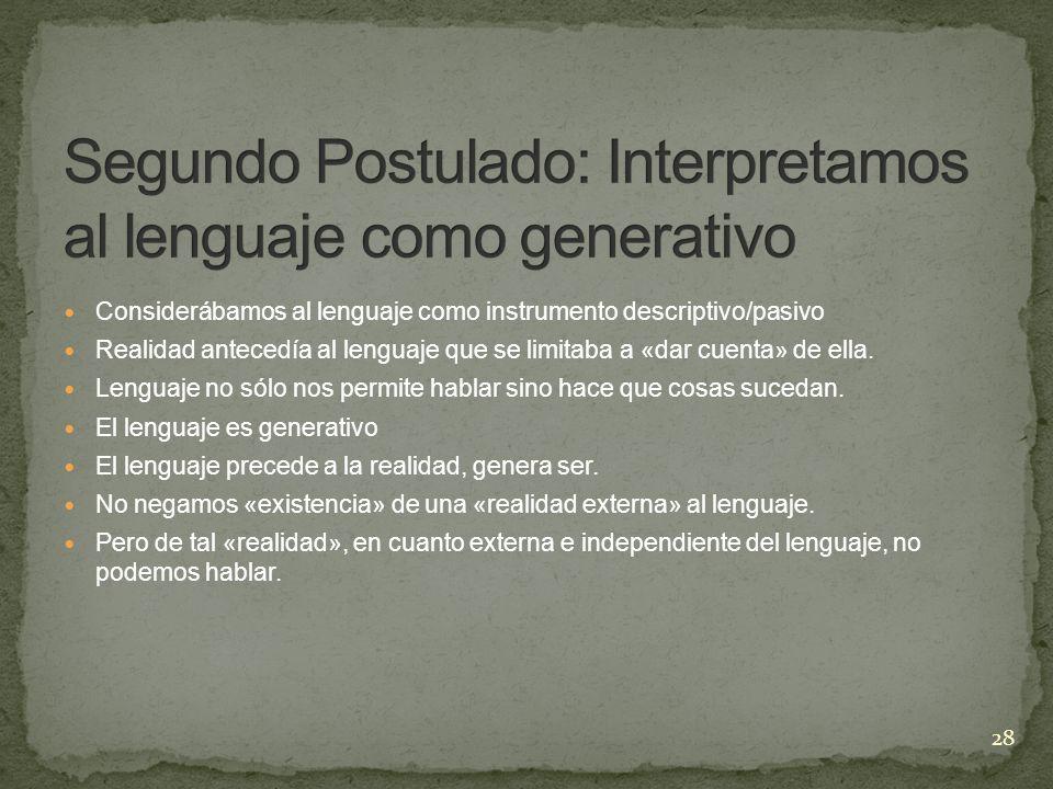 Segundo Postulado: Interpretamos al lenguaje como generativo