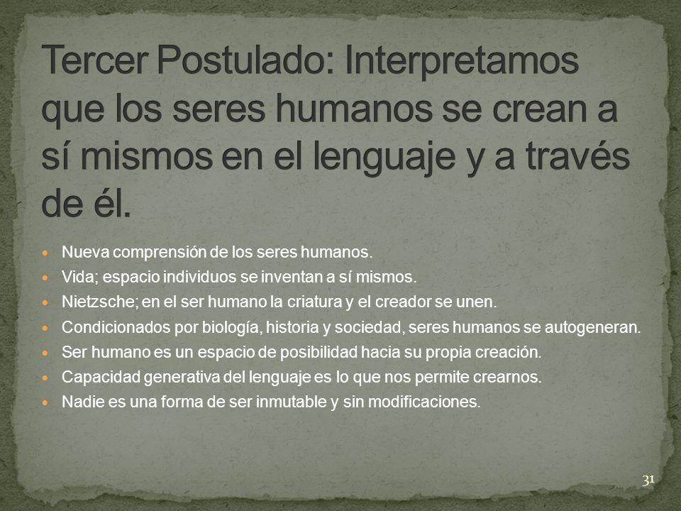 Tercer Postulado: Interpretamos que los seres humanos se crean a sí mismos en el lenguaje y a través de él.