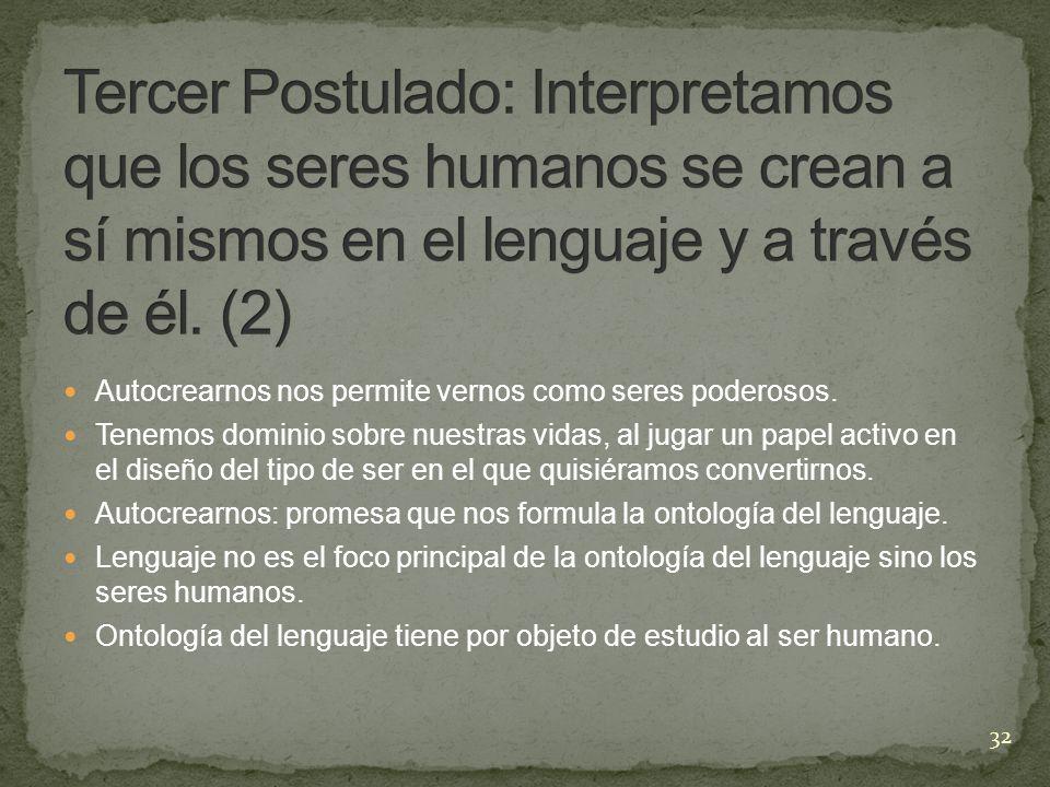 Tercer Postulado: Interpretamos que los seres humanos se crean a sí mismos en el lenguaje y a través de él. (2)