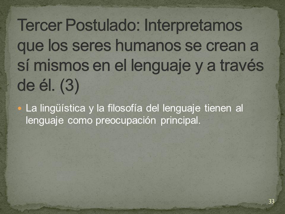 Tercer Postulado: Interpretamos que los seres humanos se crean a sí mismos en el lenguaje y a través de él. (3)