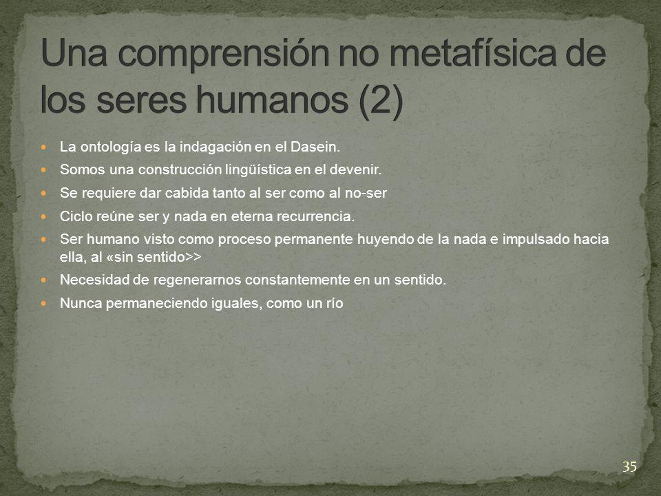 Una comprensión no metafísica de los seres humanos (2)