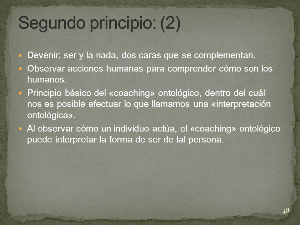 Segundo principio: (2) Devenir; ser y la nada, dos caras que se complementan. Observar acciones humanas para comprender cómo son los humanos.